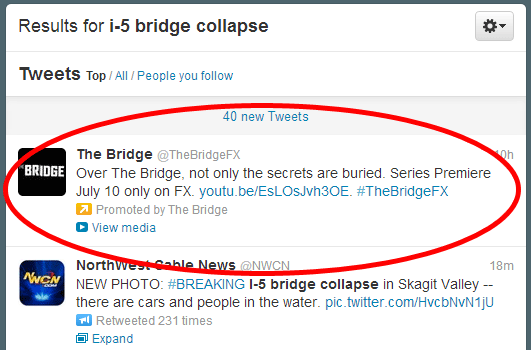 Inappropriate placement of promoted tweet during I-5 bridge collapse.